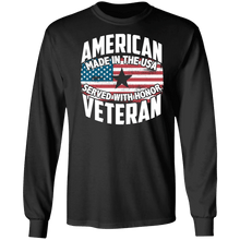 Load image into Gallery viewer, Designs by MyUtopia Shout Out:American Veteran Made in the USA Served With Honor Long Sleeve Ultra Cotton T-Shirt,Black / S,Long Sleeve T-Shirts