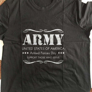 Designs by MyUtopia Shout Out:Army - Armed Forces Day - Support Those Who Serve Adult Unisex T-Shirt