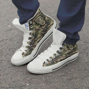 Designs by MyUtopia Shout Out:Army Dad / Army Mom Green Camo Canvas High Top Shoes,Army Dad / Men's US 8 (EU40) / Green Camo,High Top Sneakers