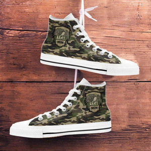 Designs by MyUtopia Shout Out:Army Dad / Army Mom Green Camo Canvas High Top Shoes