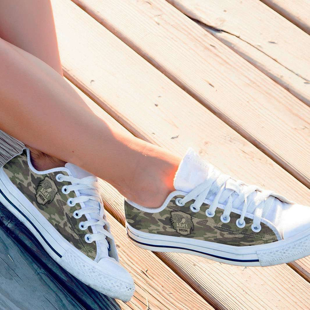 Designs by MyUtopia Shout Out:Army Mom / Army Dad Camouflage Low Cuts,Mom / Women's US 6 (EU36) / Green Camo,Lowtop Shoes