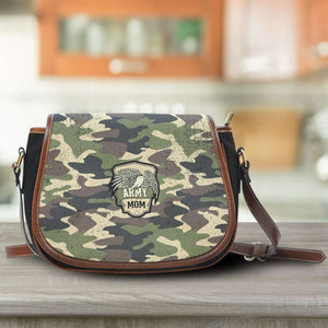 Designs by MyUtopia Shout Out:Army Mom Camo Canvas Saddlebag Style Crossbody Purse