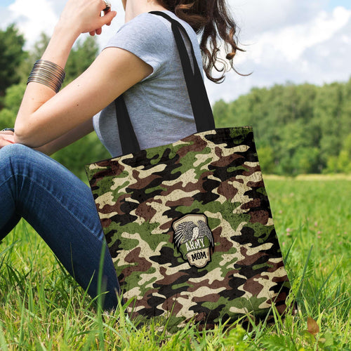 Designs by MyUtopia Shout Out:Army Mom Camo Fabric Totebag Reusable Shopping Tote