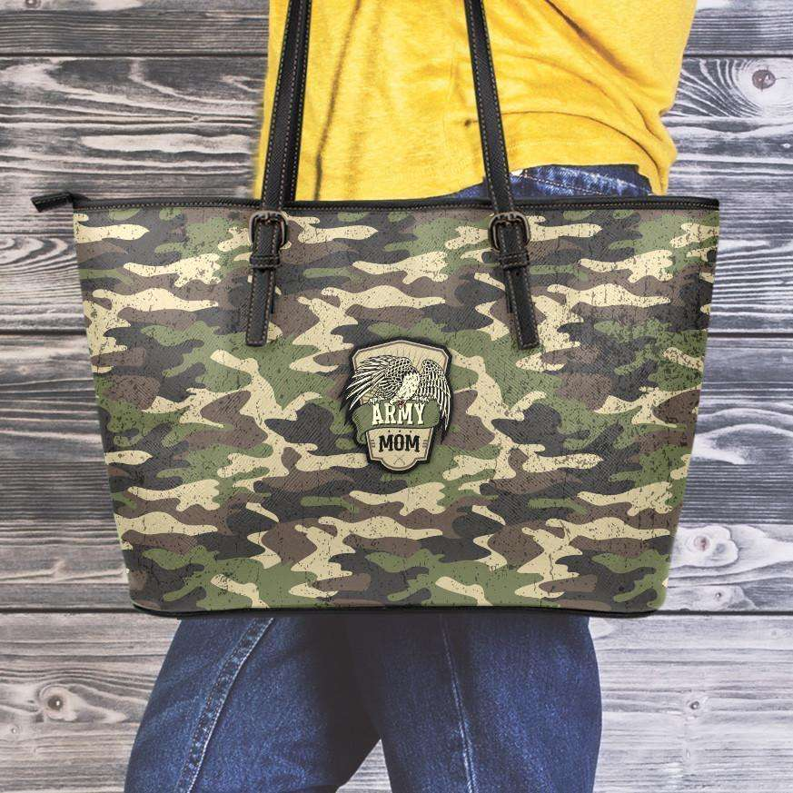 Designs by MyUtopia Shout Out:Army Mom Camo Faux Leather Totebag Purse  Medium