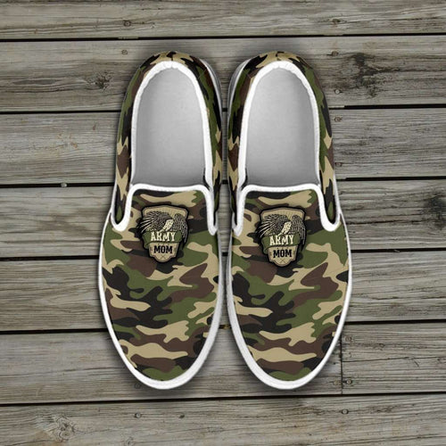 Designs by MyUtopia Shout Out:Army Mom Camo Slip-on Shoes,US6 (EU36) / Green Camo,Slip on sneakers