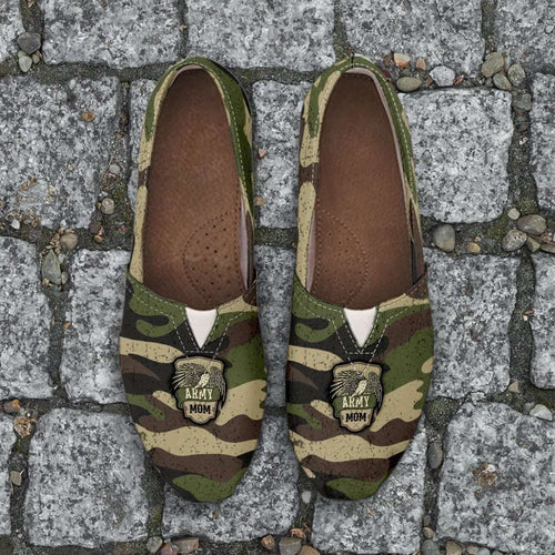 Designs by MyUtopia Shout Out:Army Mom Camouflage Casual Canvas Slip on Shoes Women's Flats