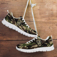 Load image into Gallery viewer, Designs by MyUtopia Shout Out:Army Mom Camouflage Running Shoes,Womens / Womens US5 (EU35) / Green Camo,Running Shoes