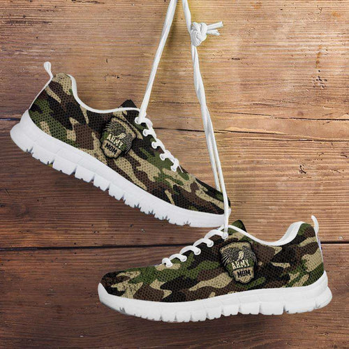 Designs by MyUtopia Shout Out:Army Mom Camouflage Running Shoes,Womens / Womens US5 (EU35) / Green Camo,Running Shoes
