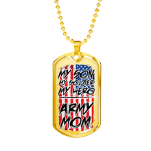 Load image into Gallery viewer, Designs by MyUtopia Shout Out:Army Mom Personalized Engravable Keepsake Dog Tag,Gold / No,Dog Tag Necklace