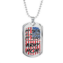 Load image into Gallery viewer, Designs by MyUtopia Shout Out:Army Mom Personalized Engravable Keepsake Dog Tag,Silver / No,Dog Tag Necklace