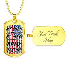 Load image into Gallery viewer, Designs by MyUtopia Shout Out:Army Mom Personalized Engravable Keepsake Dog Tag,Gold / Yes,Dog Tag Necklace