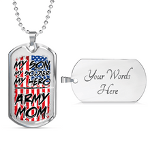 Load image into Gallery viewer, Designs by MyUtopia Shout Out:Army Mom Personalized Engravable Keepsake Dog Tag,Silver / Yes,Dog Tag Necklace