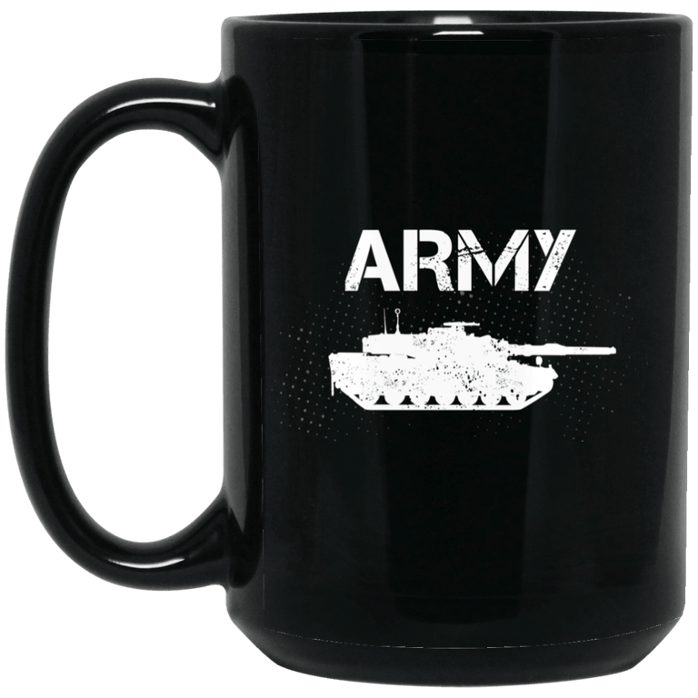 Designs by MyUtopia Shout Out:Army Tank 11 oz. Ceramic Coffee Mug - Black 15 oz. Ceramic Coffee Mug - Black,Black / One Size,Drinkware