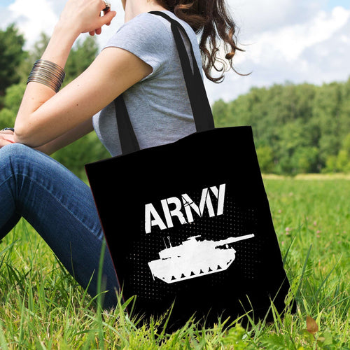 Designs by MyUtopia Shout Out:Army Tank Fan Fabric Totebag Reusable Shopping Tote