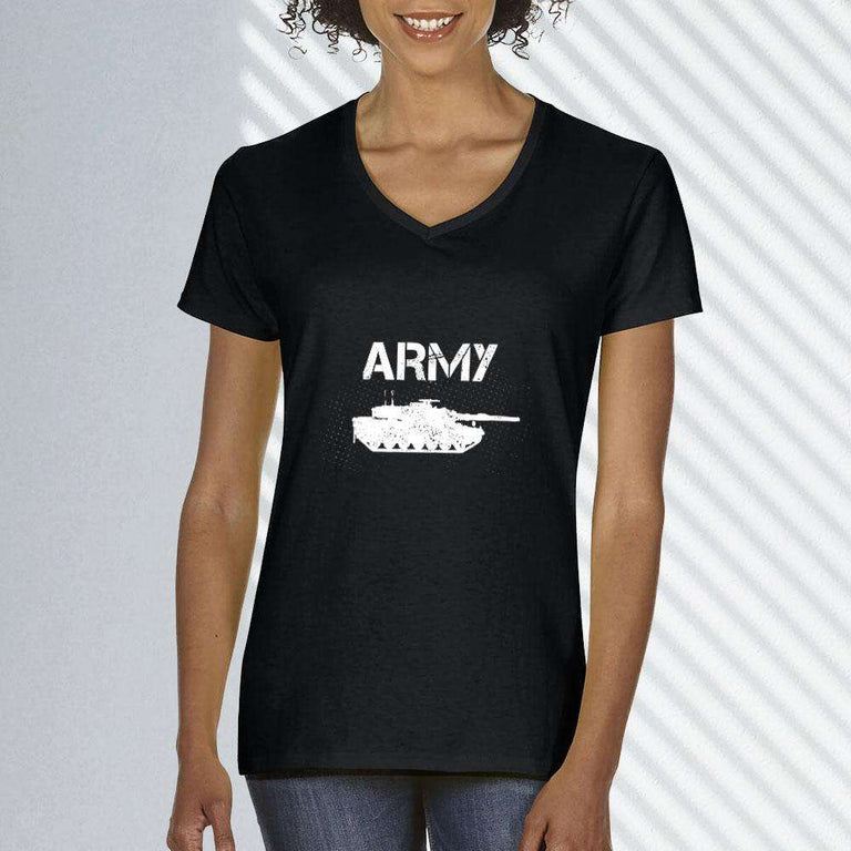 Designs by MyUtopia Shout Out:Army Tank Ladies' V-Neck T-Shirt