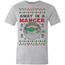 Load image into Gallery viewer, Designs by MyUtopia Shout Out:Away In A Manger Baby Yoda Christmas Jersey Short-Sleeve T-Shirt,Athletic Heather / X-Small,Adult Unisex T-Shirt