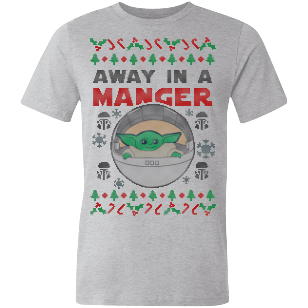 Designs by MyUtopia Shout Out:Away In A Manger Baby Yoda Christmas Jersey Short-Sleeve T-Shirt,Athletic Heather / X-Small,Adult Unisex T-Shirt