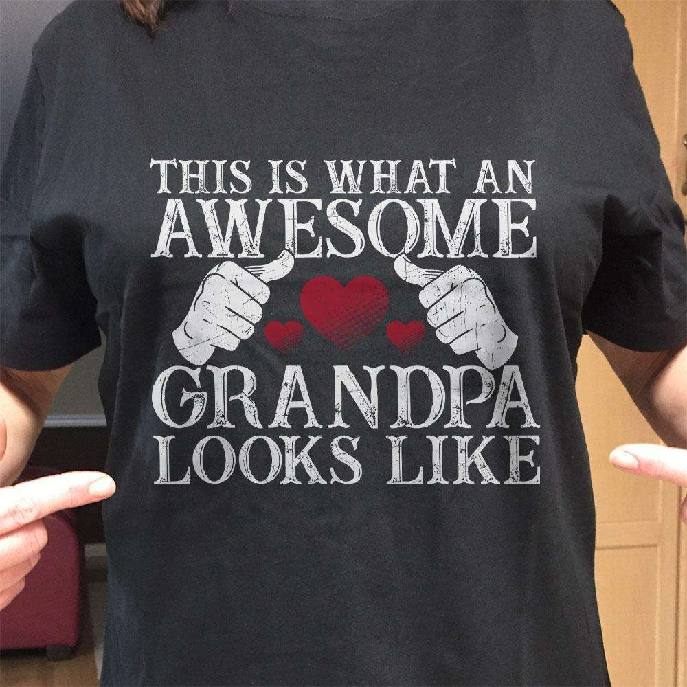 Designs by MyUtopia Shout Out:Awesome GrandPa Adult Unisex Black T-Shirt