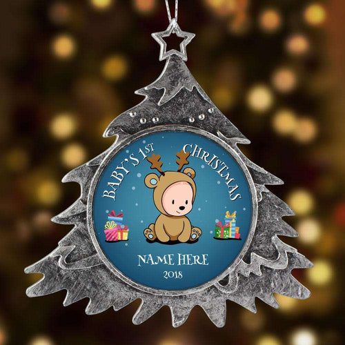 Designs by MyUtopia Shout Out:Baby Boy's First Christmas Personalized Keepsake Ornament