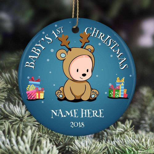 Designs by MyUtopia Shout Out:Baby Boy's First Christmas With Name and Year Personalized Ceramic Circle Ornament,White,Personalized Christmas Ornament