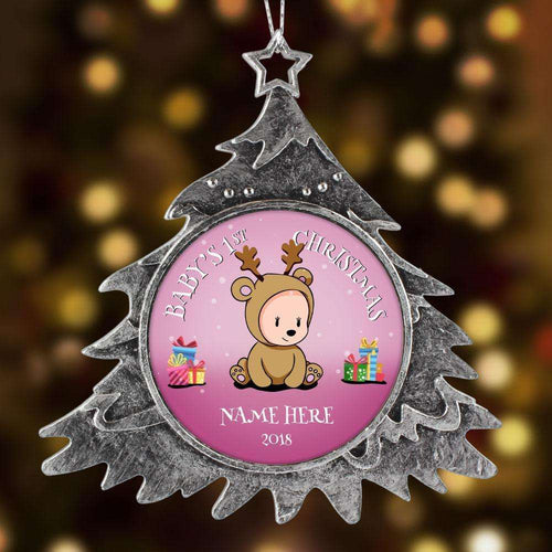 Designs by MyUtopia Shout Out:Baby Girl's First Christmas Personalized Keepsake Ornament