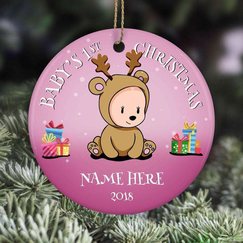 Designs by MyUtopia Shout Out:Baby Girl's First Christmas With Name and Year Personalized Ceramic Circle Ornament,White,Personalized Christmas Ornament