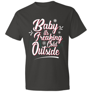 Designs by MyUtopia Shout Out:Baby It's Freaking Cold Outside - Lightweight Unisex T-Shirt,Smoke / S,Adult Unisex T-Shirt