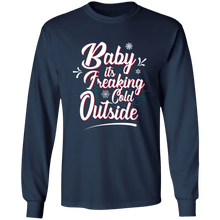 Load image into Gallery viewer, Designs by MyUtopia Shout Out:Baby It's Freaking Cold Outside - Ultra Cotton Long Sleeve T-Shirt,Navy / S,Long Sleeve T-Shirts