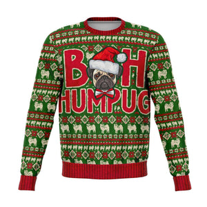 Designs by MyUtopia Shout Out:Bah Humpug Funny Christmas - Fleece Lined Fashion Sweatshirt,XS,Fashion Sweatshirt - AOP