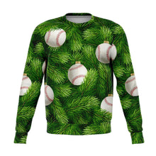 Load image into Gallery viewer, Designs by MyUtopia Shout Out:Baseball Christmas Tree - Funny Christmas Fleece Lined Fashion Sweatshirt,XS,Fashion Sweatshirt - AOP