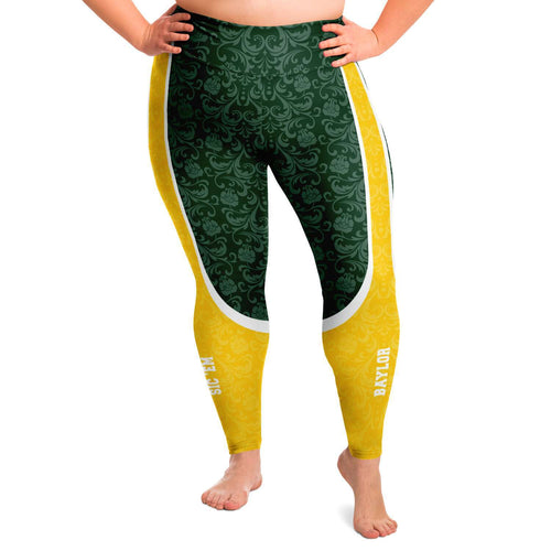 Designs by MyUtopia Shout Out:Baylor Sic 'Em Basketball Fan Plus Size Leggings Yoga Workout Pants,2XL / Green,Plus Size Legging - AOP