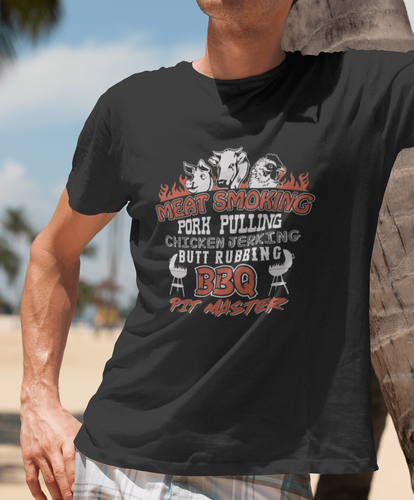 Designs by MyUtopia Shout Out:BBQ Pit Master Adult Unisex Cotton Short Sleeve T-Shirt