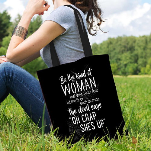 Designs by MyUtopia Shout Out:Be The Kind of Woman That Scares The Devil Fabric Totebag Reusable Shopping Tote