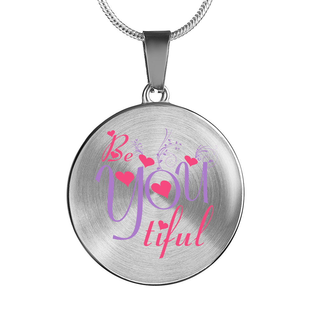Designs by MyUtopia Shout Out:Be YOU Tiful Circle Personalized Engravable Keepsake Necklace,Silver / No,Necklace