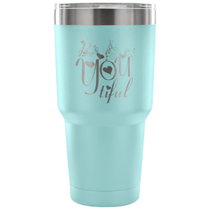 Designs by MyUtopia Shout Out:Be YOU Tiful Engraved Insulated Double Wall Steel Tumbler Travel Mug,Light Blue / 30 Oz,Polar Camel Tumbler