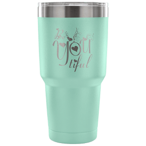 Designs by MyUtopia Shout Out:Be YOU Tiful Engraved Insulated Double Wall Steel Tumbler Travel Mug,Teal / 30 Oz,Polar Camel Tumbler