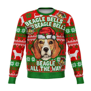 Designs by MyUtopia Shout Out:Beagle Bells - Funny Christmas Fleece Lined Fashion Sweatshirt,XS,Fashion Sweatshirt - AOP