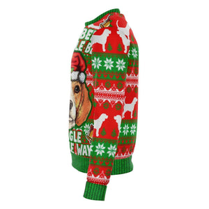 Designs by MyUtopia Shout Out:Beagle Bells - Funny Christmas Fleece Lined Fashion Sweatshirt