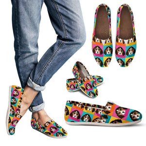 Designs by MyUtopia Shout Out:Beagle Clipart Casual Canvas Slip on Shoes Women's Flats (D)
