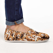 Load image into Gallery viewer, Designs by MyUtopia Shout Out:Beagle Puppies Casual Canvas Slip on Shoes Women's Flats