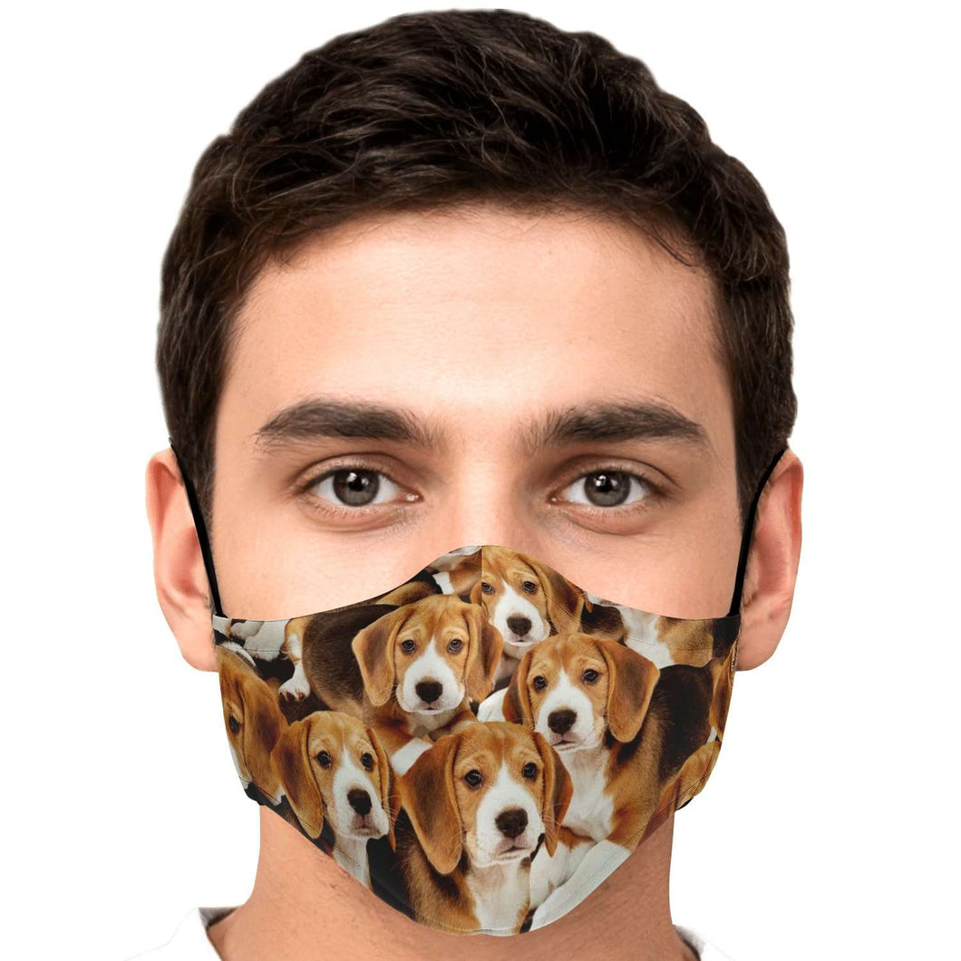 Designs by MyUtopia Shout Out:Beagle Puppies Fitted Fabric Face Mask with adjustable ear loops,Adult / Single / No filters,Fabric Face Mask
