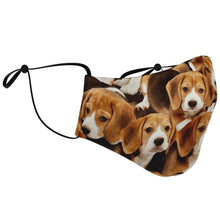 Load image into Gallery viewer, Designs by MyUtopia Shout Out:Beagle Puppies Fitted Fabric Face Mask with adjustable ear loops