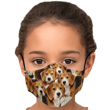 Load image into Gallery viewer, Designs by MyUtopia Shout Out:Beagle Puppies Fitted Fabric Face Mask with adjustable ear loops,Youth / Single / No filters,Fabric Face Mask