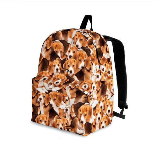 Designs by MyUtopia Shout Out:Beagles all over print Backpack,Large (18 x 14 x 8 inches) / Adult (Ages 13+) / Brown,Backpacks