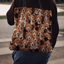 Load image into Gallery viewer, Designs by MyUtopia Shout Out:Beagles all over print Dog Collage Fabric Totebag Reusable Shopping Tote