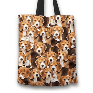 Designs by MyUtopia Shout Out:Beagles all over print Dog Collage Fabric Totebag Reusable Shopping Tote,Beagle Puppy Collage,Reusable Fabric Shopping Tote Bag