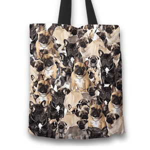 Designs by MyUtopia Shout Out:Beagles all over print Dog Collage Fabric Totebag Reusable Shopping Tote,French Bulldog Collage,Reusable Fabric Shopping Tote Bag