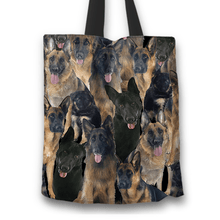 Load image into Gallery viewer, Designs by MyUtopia Shout Out:Beagles all over print Dog Collage Fabric Totebag Reusable Shopping Tote,German Shepherd Collage,Reusable Fabric Shopping Tote Bag