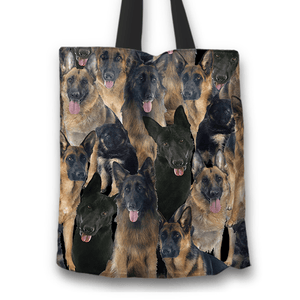 Designs by MyUtopia Shout Out:Beagles all over print Dog Collage Fabric Totebag Reusable Shopping Tote,German Shepherd Collage,Reusable Fabric Shopping Tote Bag