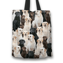 Load image into Gallery viewer, Designs by MyUtopia Shout Out:Beagles all over print Dog Collage Fabric Totebag Reusable Shopping Tote,Labrador Retriever Collage,Reusable Fabric Shopping Tote Bag